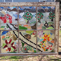 "Stained Glass Mosaic Window Art / Sun Catcher Farm Tractor Apple Trees Barn 32"" x 27"" Handcrafted OOAK Unique Gift"