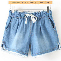 Blue Drawstring Lace Denim Blue Shorts