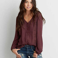 AEO Pintucked Button Down Shirt, Plum