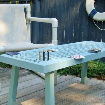 CRIBBAGE TABLE in Saltwater Blue, Game Table, Cribbage Board