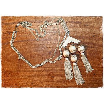 Vintage 1950s Chandelier Tassle + Art Deco Necklace