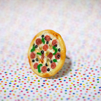 Miniature Food Ring Supreme Pizza Pepperoni Green Pepper Mushroom with adjustable ring band