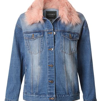 LE3NO Womens Oversized Fur Collared Denim Jacket with Detachable Faux Fur Trim