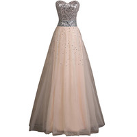 Apricot Sequins Prom Dresses Long Elegant Strapless Ball Gown Tulle Party Dress Floor Length Evening Dress Prom Dresses 6109