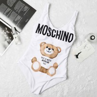 White Moschino One Piece Trending Bikini Set Bathing Suits Summer Beach Swimsuit Swimwear Vacaton Holiday