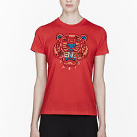 Kenzo Red Tiger Print T-shirt for women | SSENSE