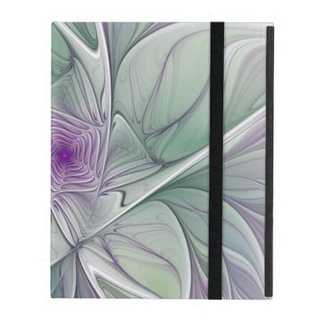 Flower Dream, Abstract Purple Green Fractal Art iPad Folio Case