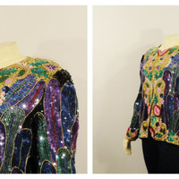 SALE Vintage Jacket Great Gatsby Art Deco Sequins Original Colorful Dripping Sequins Glamour Black Puple Gold Green Modern Size S M L