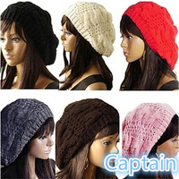 Fashion Women's Lady Beret Braided Baggy Beanie Crochet Hat Ski Cap Knitted = 1958124612