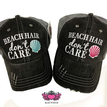 Beach Hair Don't Care Shell Trucker Hat - 2 Colors