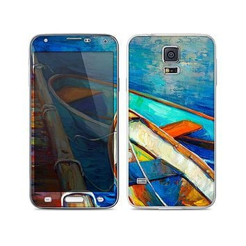 The Colorful Pastel Docked Boats Skin For the Samsung Galaxy S5