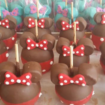12- RED Minnie mouse chocolate dipped apples with ears