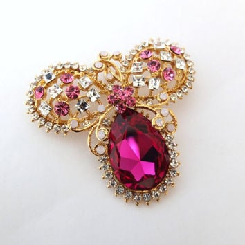RED SWAROVSKI crystal & rhinestone Brooch, Glamorous Brooch Pin