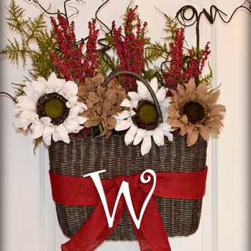 Wicker Basket with flowers and wooden letter door hanger, Burlap wreath