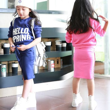 Teenage Girls Clothing Sets 2016 Autumn Children Girls Long Sleeve Sweatshirt & Straight Skirt 2pcs Girls Back to School Outfits