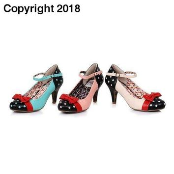 Ellie Shoes E-BP320-Gillian Polka Dot Bow Closed Toe Heel
