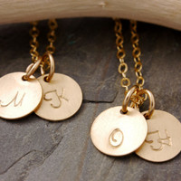 Initial Necklace Set of 2 to 10 - bridesmaid gift set, personalized jewelry, gold disc, gold disk necklace, wedding party favor, BR
