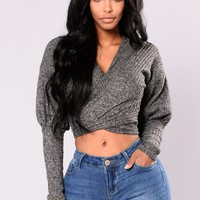 In Your Embrace Wrap Sweater - Charcoal