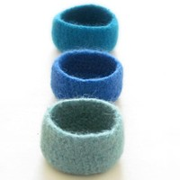Blue Felted Bowls / Ocean Colors / .. on Luulla