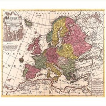 RARE antique MAP OF EUROPE cartography poster CONRAD LOTTER 24X36 valuable