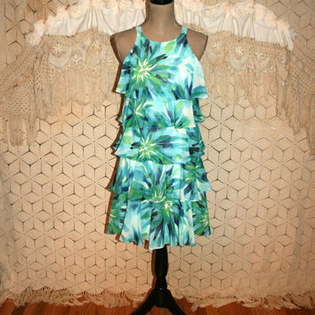 Blue Print Hawaiian Dress Chiffon Ruffle Midi Summer Dress Party Luau Dress Racerback Tropical Floral Size 6 Dress Small Womens Clothing
