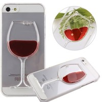 Clear Burgundy Wine Glass Liquid Filled Phone Case Cover