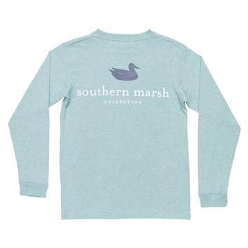 Youth Heathered Authentic Long Sleeve Tee in Washed Moss Blue by Southern Marsh