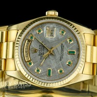 Rolex Men's Day-Date 18038 18K Yellow Gold Meteorite Dial with Emerald