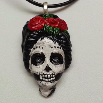 OOAK Hand Painted Day of the Dead Sugar Skull Necklace - Dia de los Muertos, Skeleton, Girl, Goth, Mexican, Rockabilly, Tattoo, Halloween