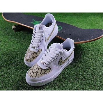 Gucci X NIKE Air Force Fashion Women Men Casual Running Sport Shoes Sneakers I