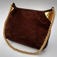 GUCCI Vintage Chocolate Brown Monogrammed Suede Leather Shoulder Bag. Italian Designer purse with gold chain.