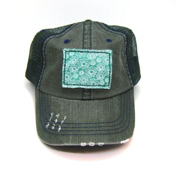 Colorado Trucker Hat - Distressed - Floral Fabric State Cutout