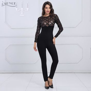 Sexy O Neck Mesh Patchwork Beading Long Sleeve Full Length Rompers - Jumpsuit