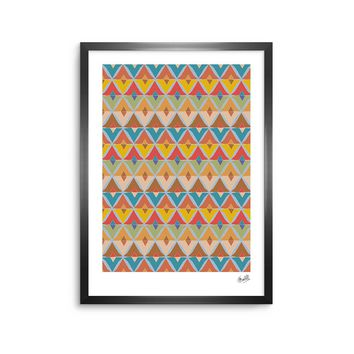 "julia grifol ""Small Diamonds"" Brown Gray Pattern Geometric Vector Digital Framed Art Print"