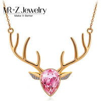 Valentines Gifts Austrian Crystal Cute Deer Necklaces