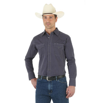Wrangler Silver Edition Mens Striped Snap Long Sleeve Western Shirt