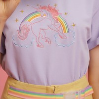 2016 Unique Design Embroidery Rainbow Loose New Short Sleeve Women T shirt-in T-Shirts from Women's Clothing & Accessories on Aliexpress.com | Alibaba Group