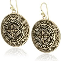 "Bronzed by Barse ""Mayan"" Round Dangle Earrings"