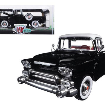 1958 GMC Stepside Truck Gloss Black and Dover White 1-24 Diecast Model by M2 Machines