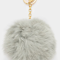 Large Rabbit Fur Pom Pom Keychain, Key Ring Bag Pendant Accessory - Light Grey