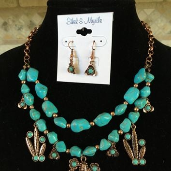 Ethel & Myrtle's Necklace and Earring Set Copper Turquoise Nugget Cactus