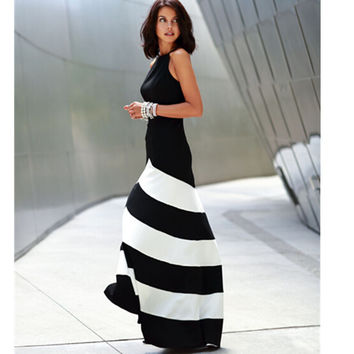 Stylish Stripes Patchwork Shaped Slim Prom Dress [4966113988]