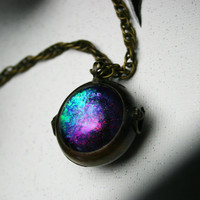 Supernatural and Magic Gathering - Handmade - Color Shifting- Antique Bronze Bubble Locket Necklace