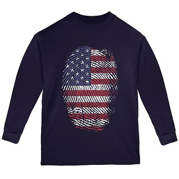 4th of July American Flag Pride Thumbprint Youth Long Sleeve T Shirt