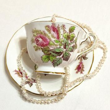 English Tea Cup, Shabby Chic Tea Cup, Royal Chelsea Moss Rose, Pink & Green Flowers, Bone China / Porcelain, 1950s, Vintage