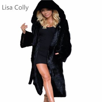 Lisa Colly New woman fur 2017 Women Winter Long Mink Faux Fur Coat with a Hooded Long Sleeves Warm Luxury Fake Fur Coats Jacket