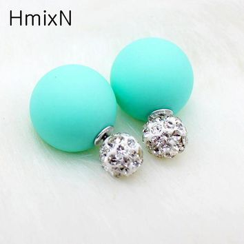ONETOW Bright two ball Earring Double side Stud Earring Crystal For Women Korea party date Statement Jewelry brinco boucle d'oreille