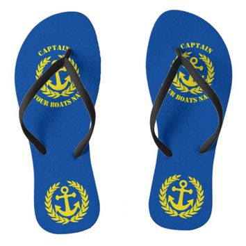 Personalized sailors anchor design flip flops