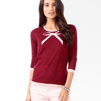 Contrast Trimmed Bow Sweater