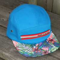5 panel hat made with %100 cotton, turquoise cap with floral brim for skateboarder surfer longboader. Good for the beach all summer.